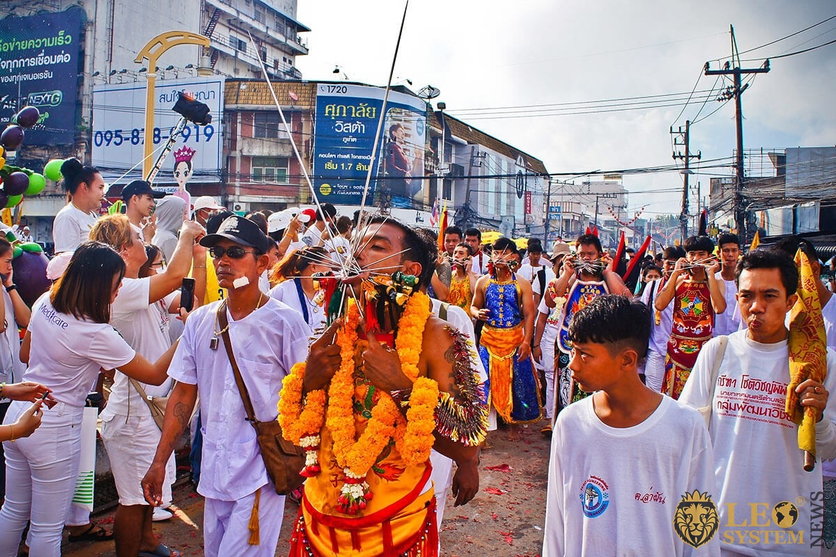 "Vegetarian Festival 2019 - The street procession around Phuket town from Bang Liao Shrine, ""Ma Song"" body piercing with Spike"