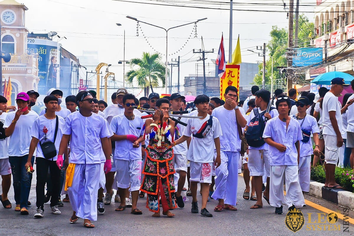 "Phuket Vegetarian Festival 2019 - The street procession around Phuket town from Bang Liao Shrine, ""Ma Song"" body piercing with Spike"