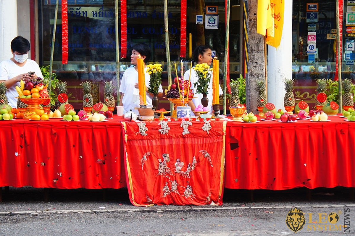 Street tables with fruits - Phuket Vegetarian festival 2019