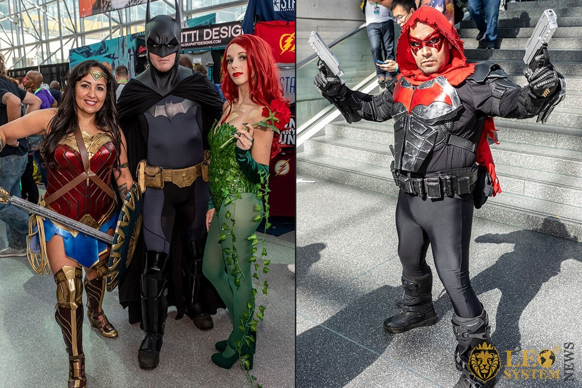 Comic Con - adults dressed in costumes of the heroes