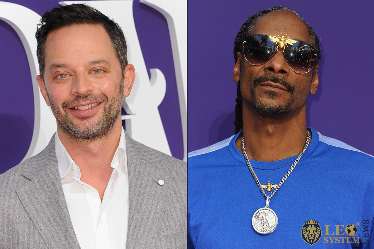 "Nick Kroll and Snoop Dogg at the Los Angeles premiere of ""The Addams Family"" held at the Century City AMC, USA"