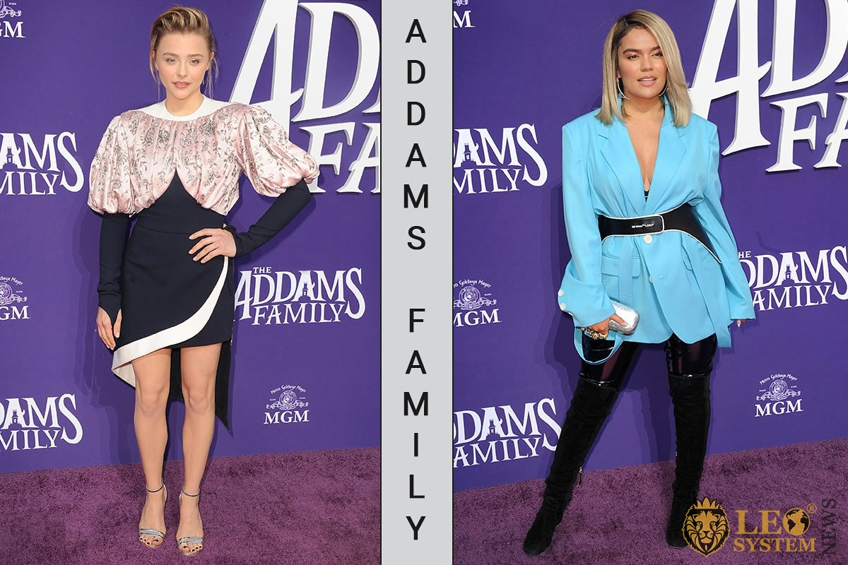 "Chloë Grace Moretz and Karol G at the Los Angeles premiere of ""The Addams Family"" held at the Century City AMC, USA"