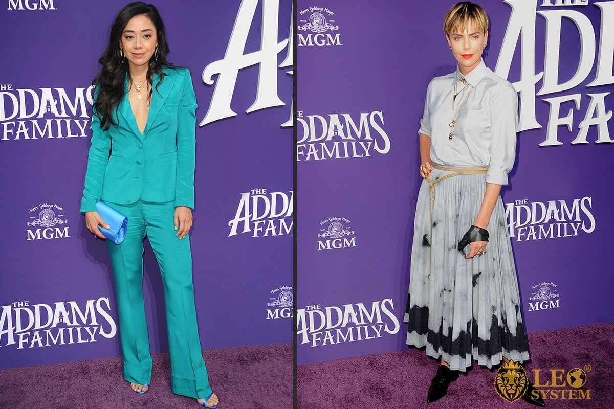 "Aimee Garcia and Charlize Theron at the Los Angeles premiere of ""The Addams Family"" held at the Century City AMC, USA"
