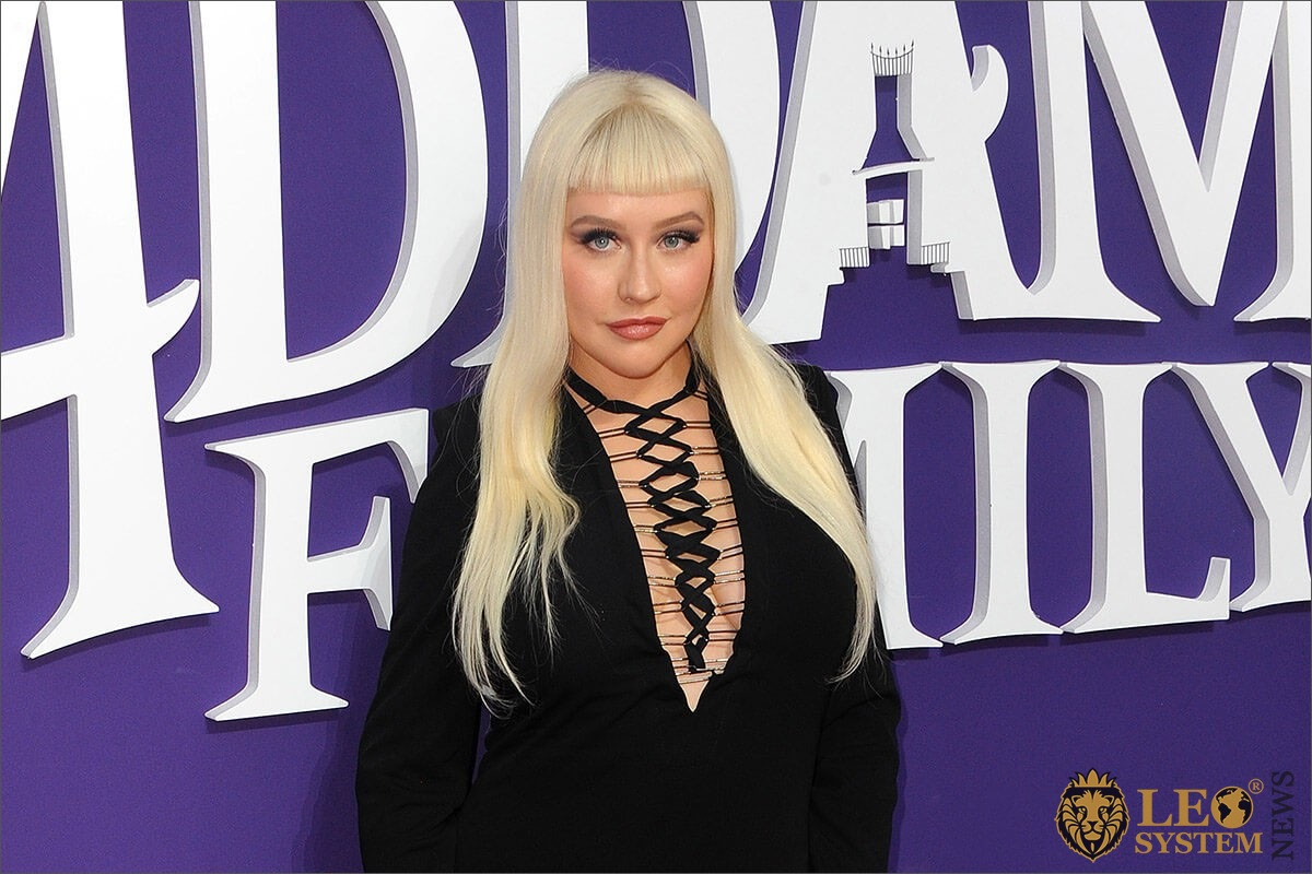 "Christina Aguilera at the Los Angeles premiere of ""The Addams Family"" held at the Century City AMC, USA"