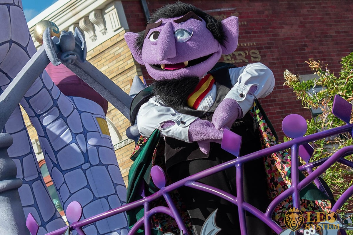 Count Von Count in halloween Sesame street party parade at Seaworld