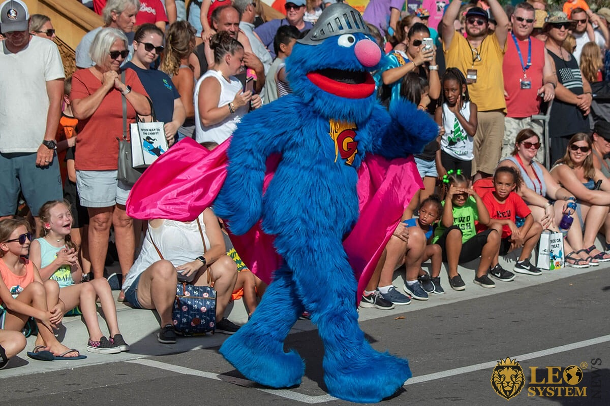 Cookie Monster in Sesame street party parade