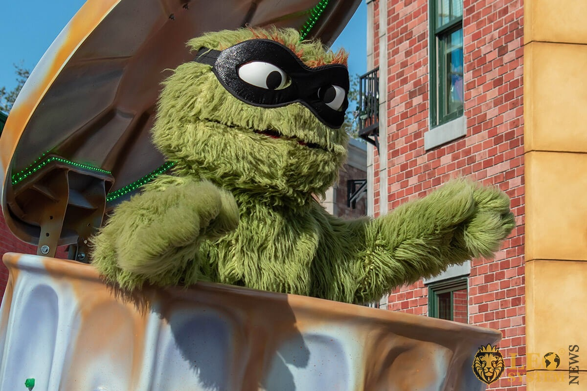 Oscar the Grouch in Sesame street party parade