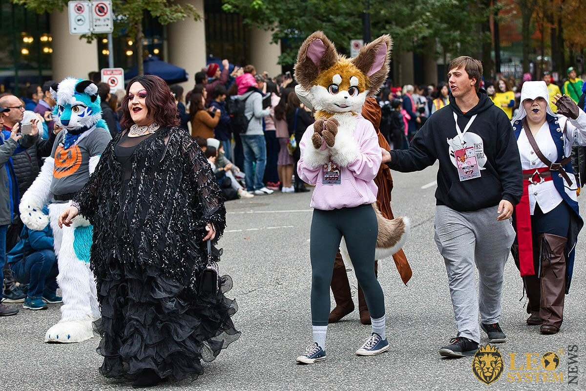 Vancouver's Halloween street parade 2019 - procession of people in original fancy dress