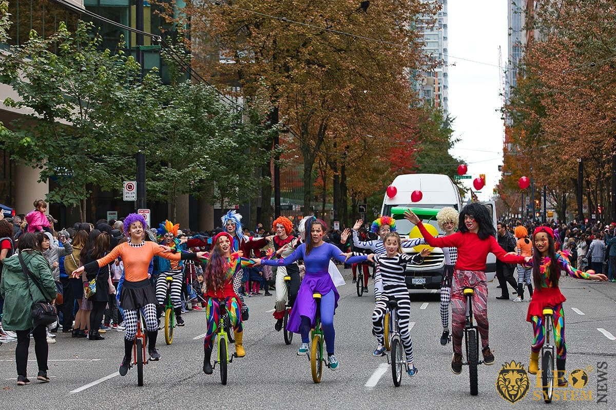 Vancouver, Canada 2019 - Participants of the parade rides unicycles