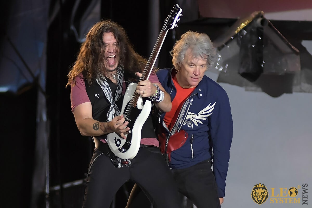 Singer Jon Bon Jovi and guitarist Phil X of the band Bon Jovi, during a concert at Rock in Rio 2019 in Rio de Janeiro