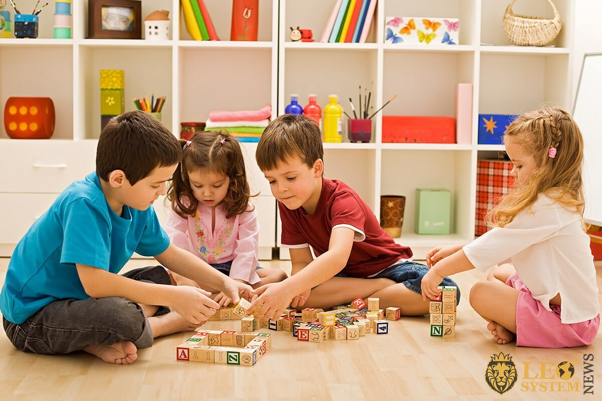Children play educational games