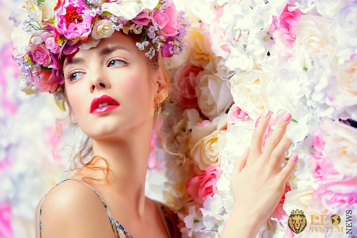 Lovely girl in flowers