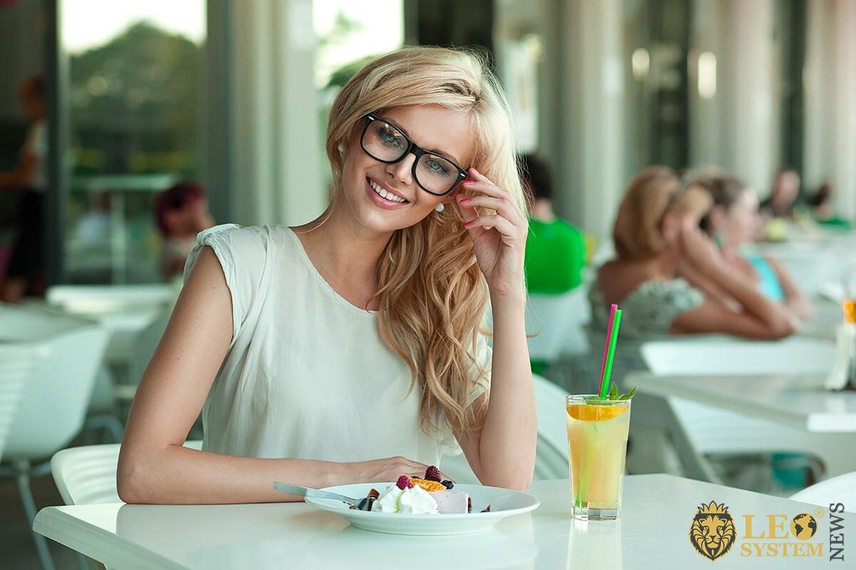 Romantic girl having breakfast