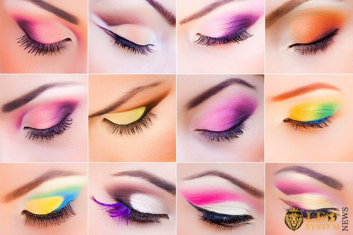 Various kinds of applying makeup to the eyes