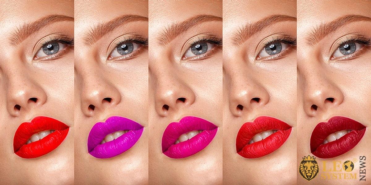 Girl with lip makeup options