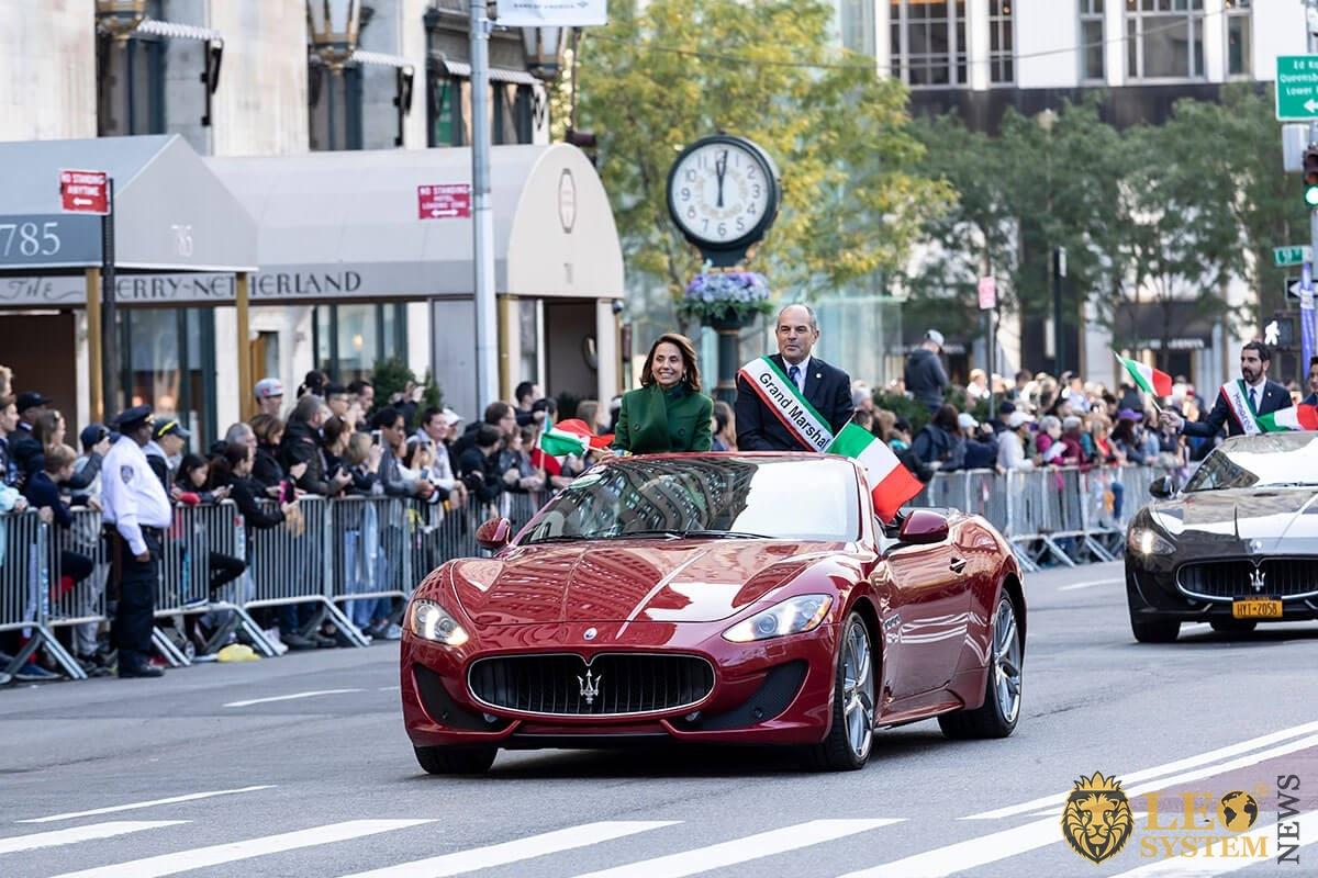 Grand Marshal Massimo Ferragamo lead 75th annual Columbus Day Parade Marching up Fifth Avenue, Manhattan, NY, USA, 2019