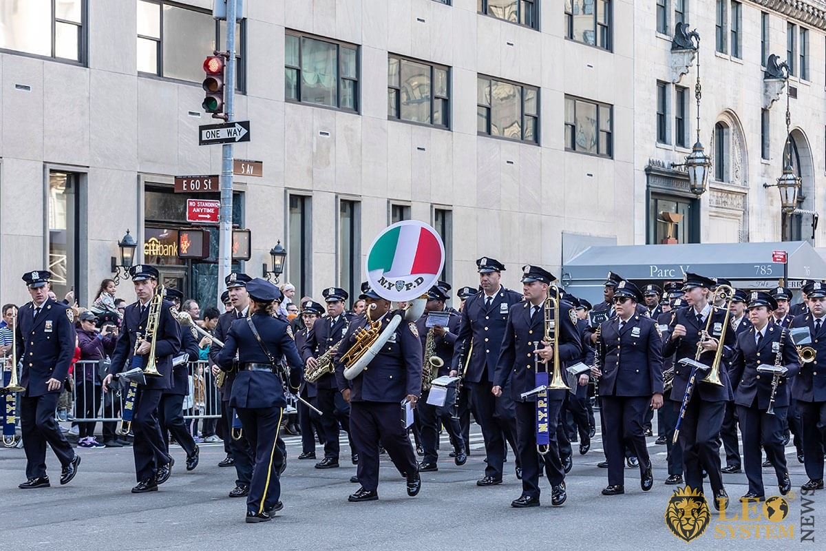 Police Band of NYC Police Department Marching up Fifth Avenue during 75th annual Columbus Day Parade, Manhattan, USA, 2019
