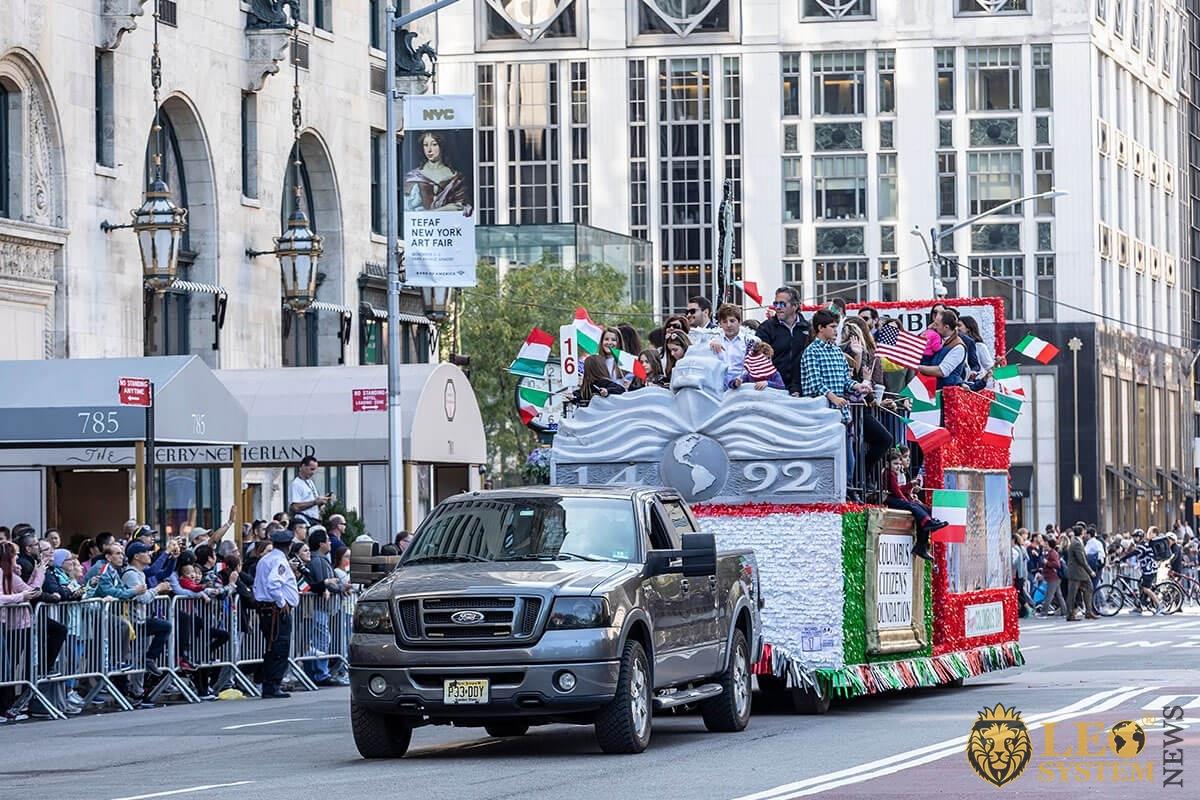 Festive parade procession - 75th annual Columbus Day Parade, NY, 2019