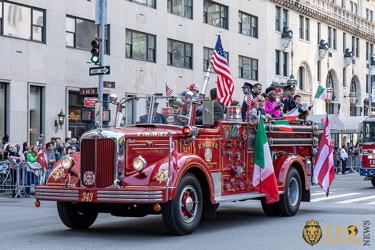 Historical Fire Department truck moves along Fifth Avenue - 75th annual Columbus Day Parade, NY, 2019