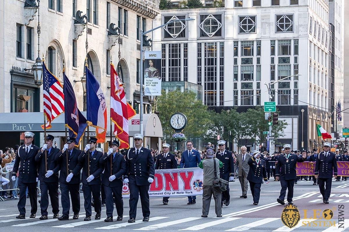 New York City fire commissioner Daniel A. Nigro walks along Fifth Avenue - 75th annual Columbus Day Parade, Manhattan, 2019