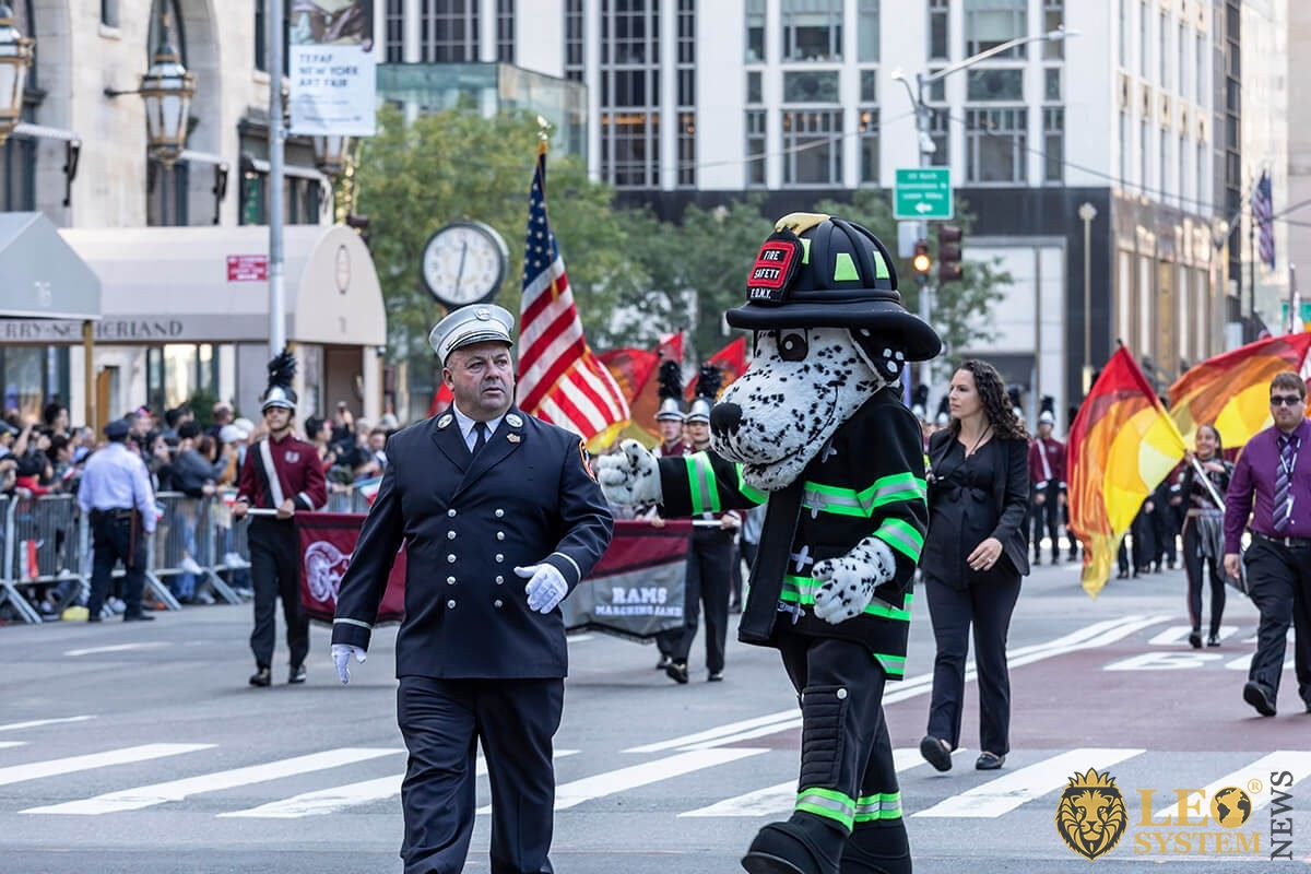 New York Fire Department mascot Marching Up Fifth Avenue - 75th annual Columbus Day Parade, Manhattan