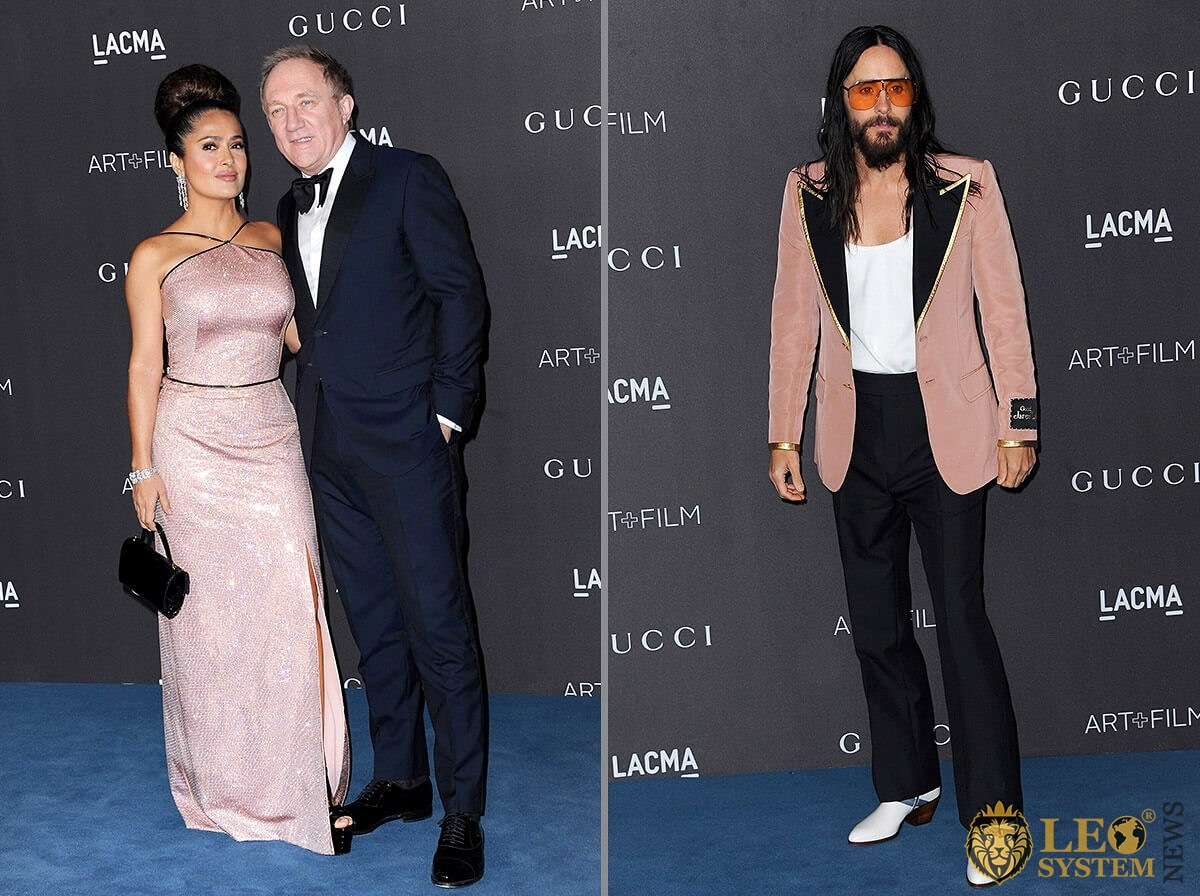Salma Hayek Pinault, François-Henri Pinault and Jared Leto at the 2019 LACMA Art plus Film Gala Presented By Gucci held at the LACMA in Los Angeles, USA