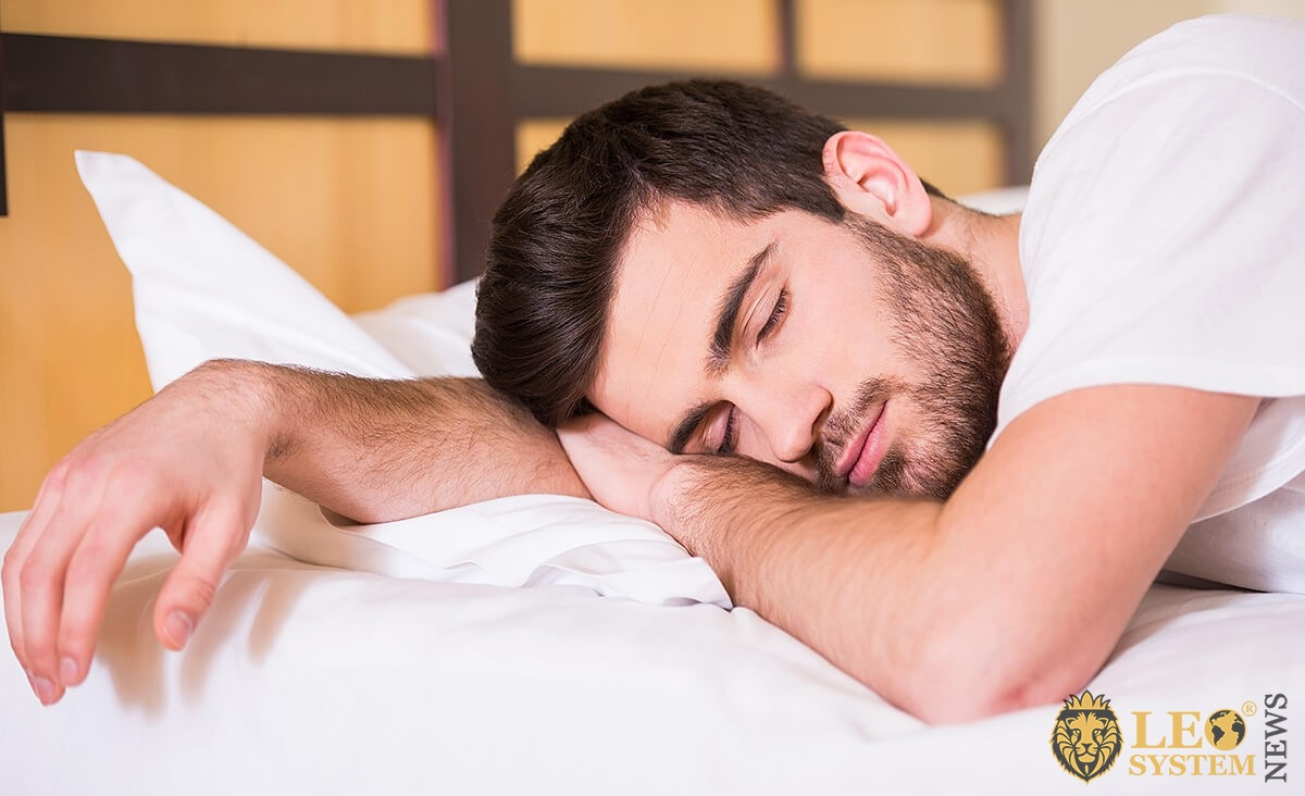 Man is sleeping sweetly