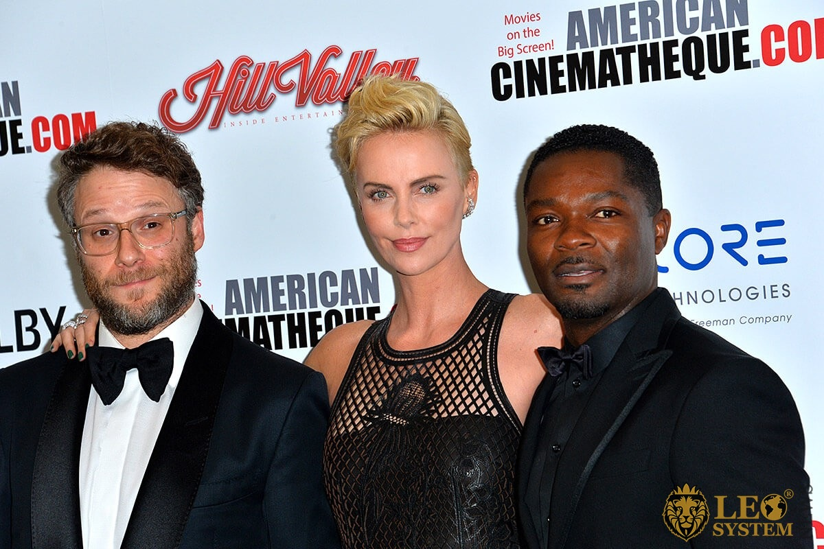 Seth Rogen, Charlize Theron, David Oyelowo at the American Cinematheque Award Gala honoring Charlize Theron at the Beverly Hilton, Los Angeles, USA
