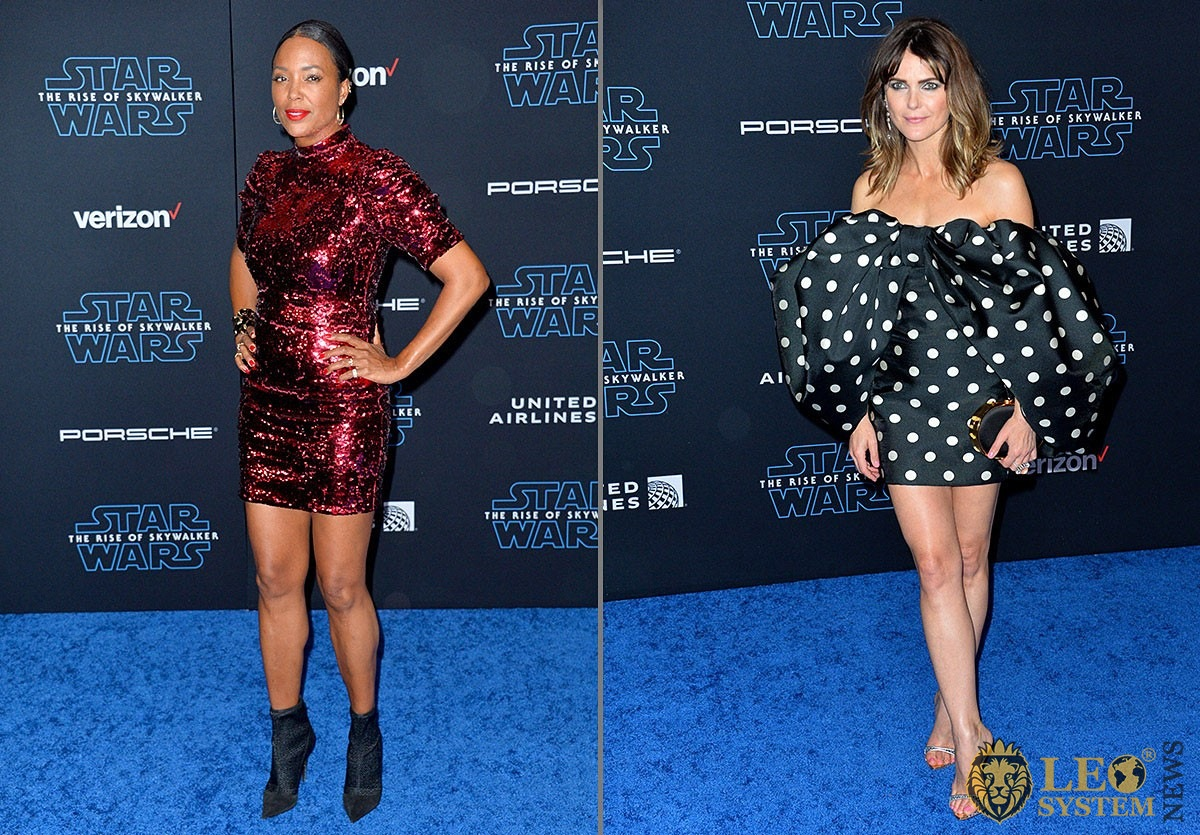 """Aisha Tyler and Keri Russell at the world premiere of """"Star Wars: The Rise of Skywalker"""" at the El Capitan Theatre, Los Angeles, USA"""