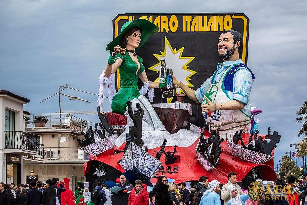 Parade of Carnival floats with dancing people, Viareggio city, Italy, 2020 year