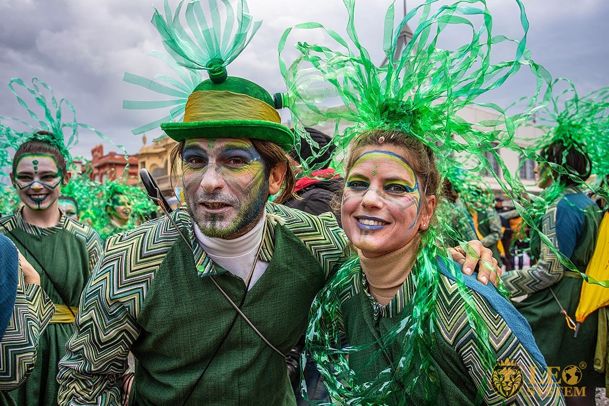 Image of guests at the Carnival, Viareggio city, Italy, 2020 year