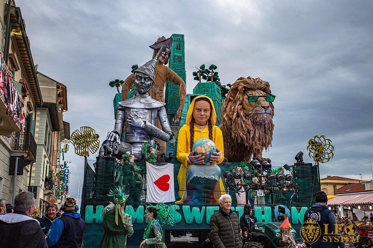 Panoramic view of the Carnival Parade on the Streets of Viareggio