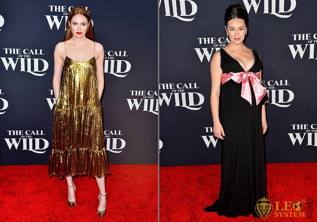 "Karen Gillan and Cara Gee at the world premiere of ""The Call of the Wild"", El Capitan Theatre, Los Angeles"