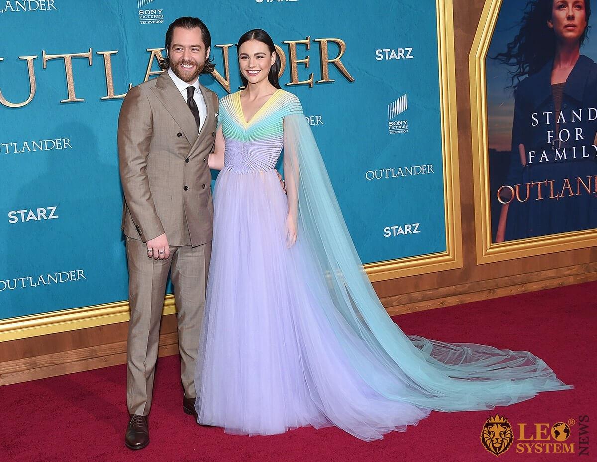 Richard Rankin and Sophie Skelton arrives for the Outlander Season 5 Premiere, Los Angeles, California