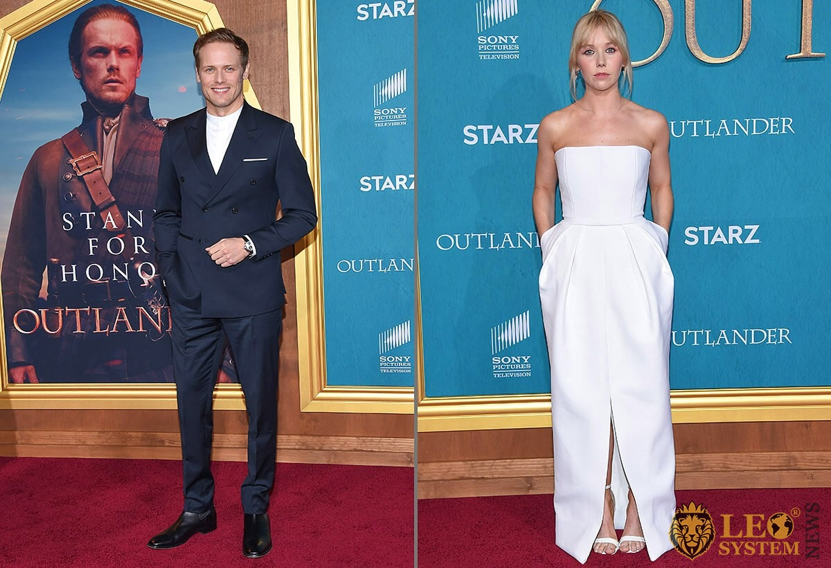 Sam Heughan and Lauren Lyle at the premiere of Season 5 of the television series Outlander, Hollywood, Los Angeles