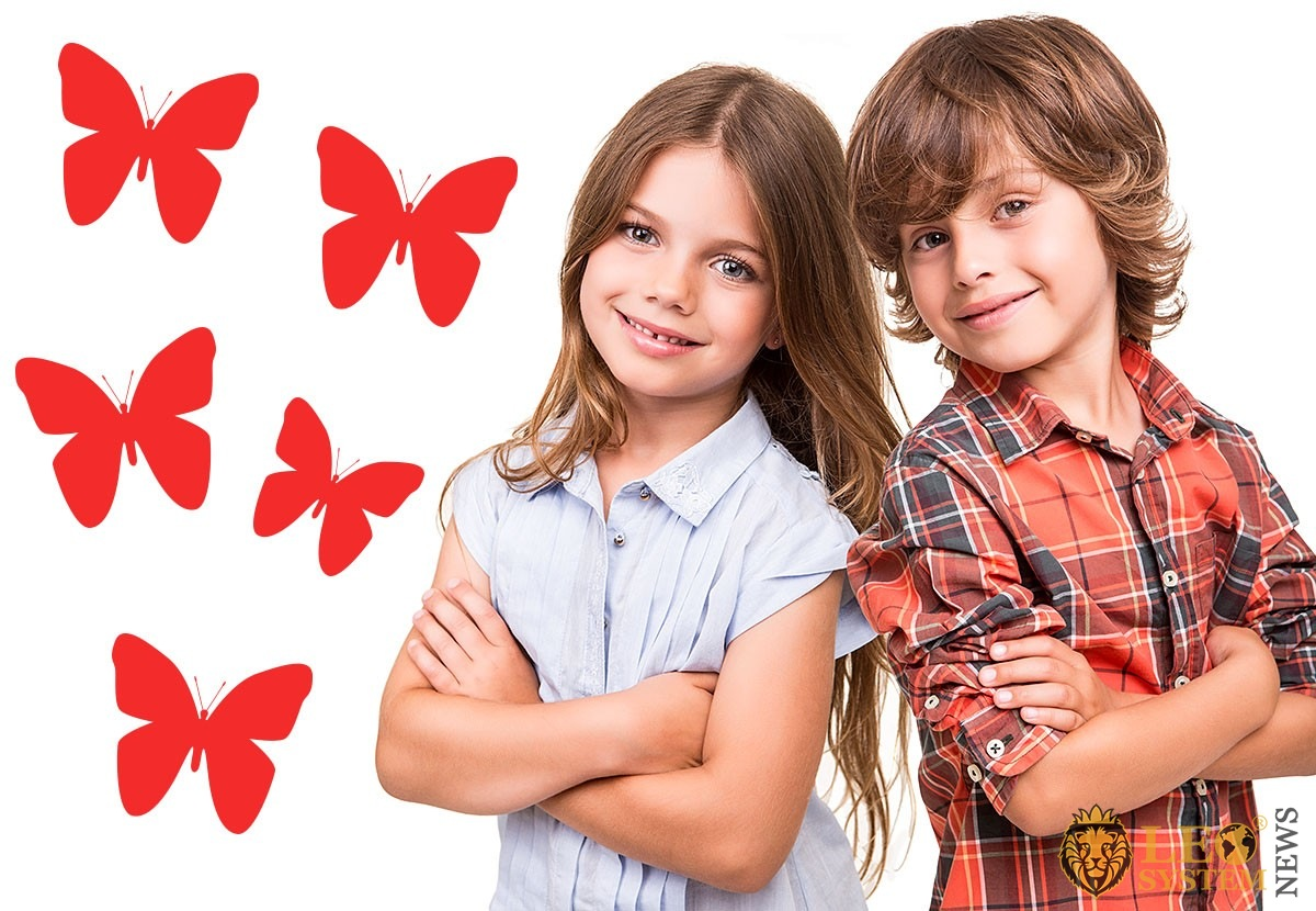 Image of children and butterflies