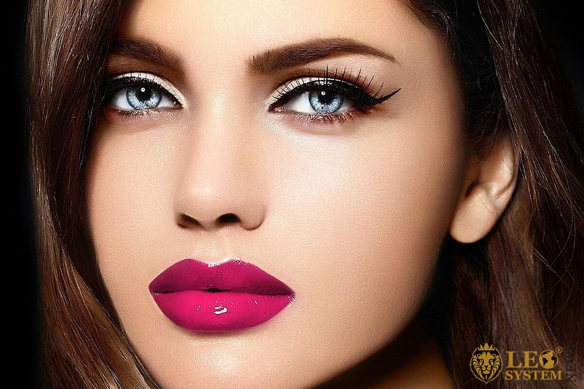 Nice girl with beautiful eyes and long eyelashes