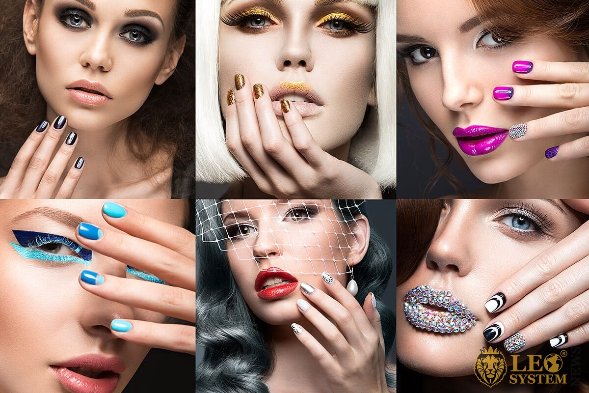 Image of attractive women with various eyelash makeup options