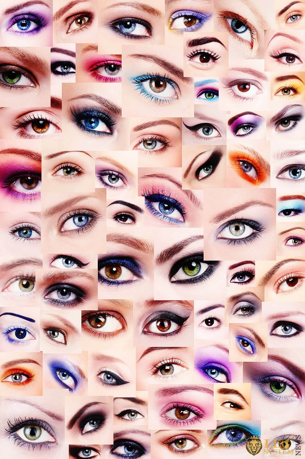 Collage of photos with different eyelash makeup options