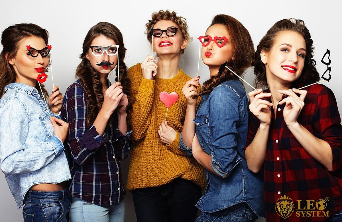 Image of girls in various masks