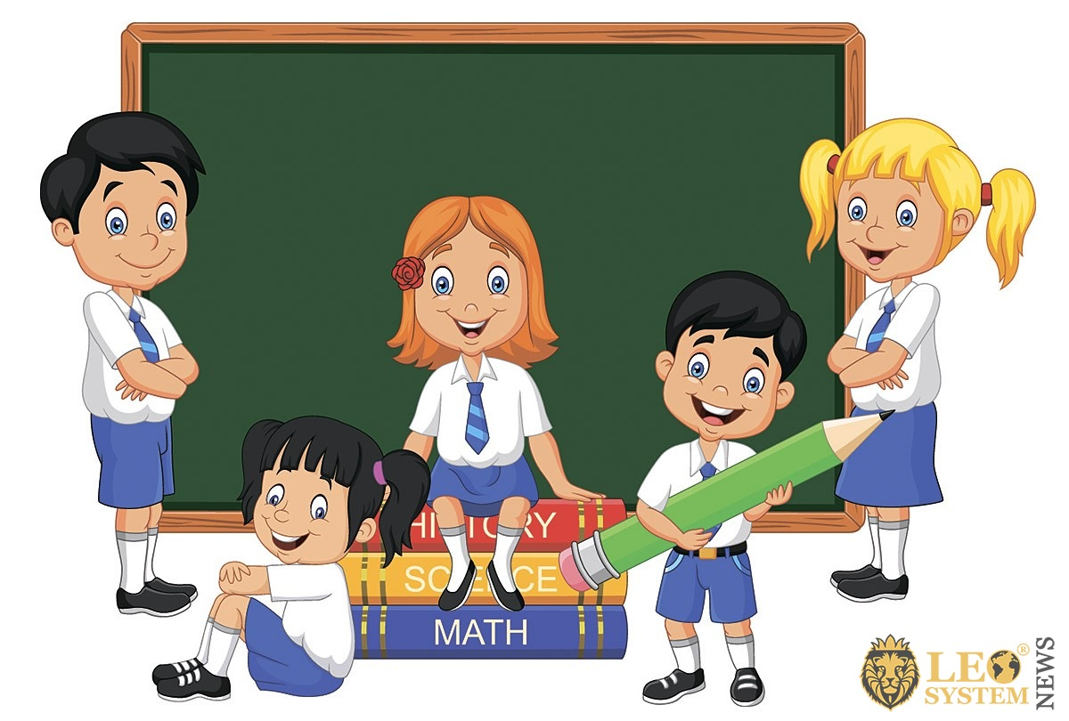 Image of drawn children in the classroom