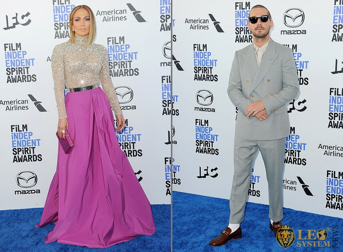 Jennifer Lopez and Shia LaBeouf at the 35th Annual Film Independent Spirit Awards, Beach in Santa Monica, Los Angeles, California, USA
