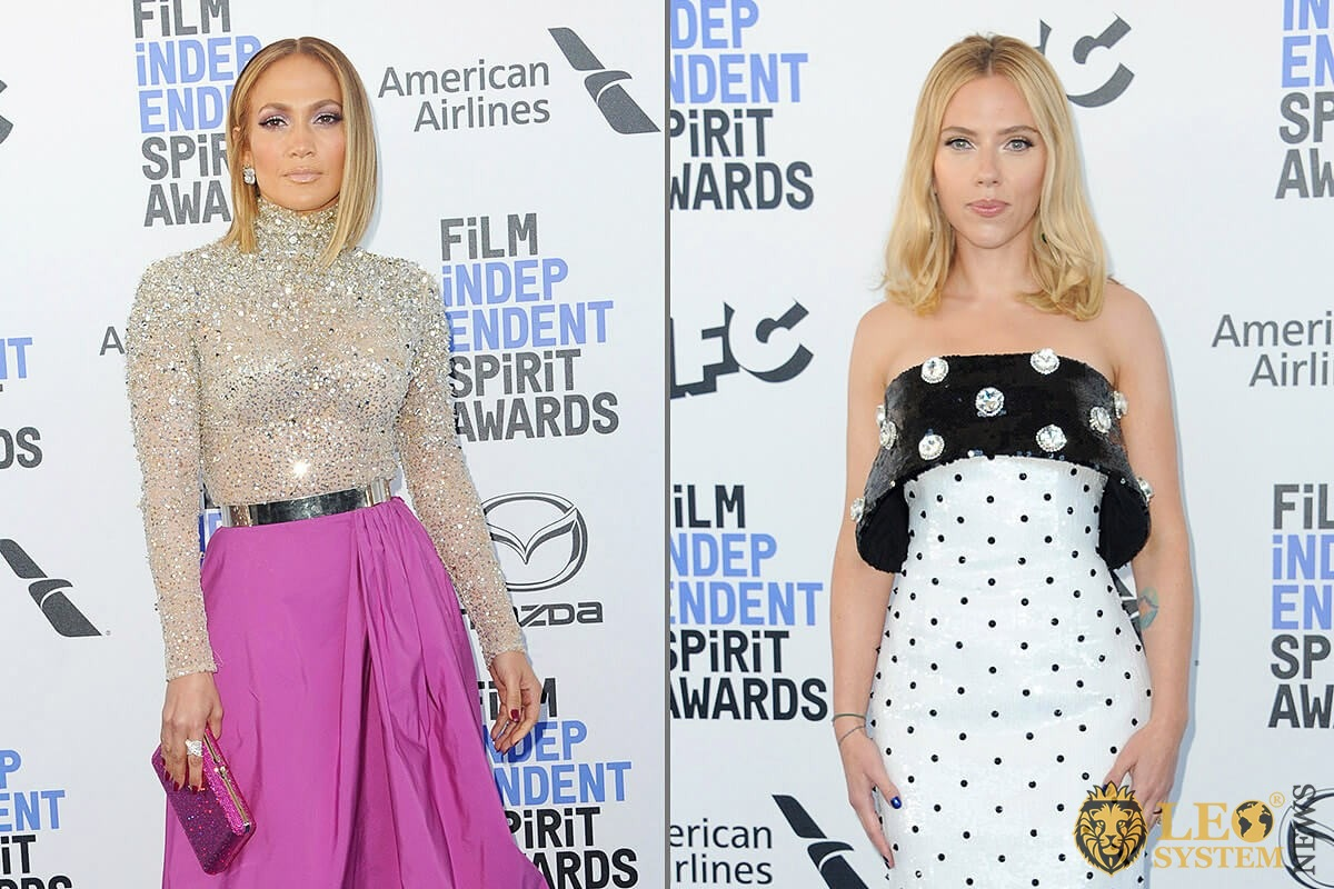 Jennifer Lopez and Scarlett Johansson at the 35th Annual Film Independent Spirit Awards, Santa Monica, Los Angeles
