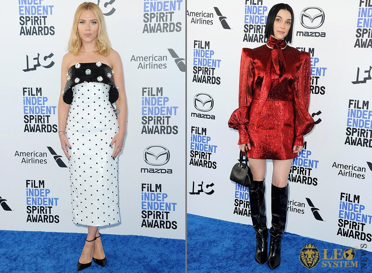 Scarlett Johansson and St. Vincent - 35th Annual Film Independent Spirit Awards, Beach in Santa Monica, Los Angeles, USA