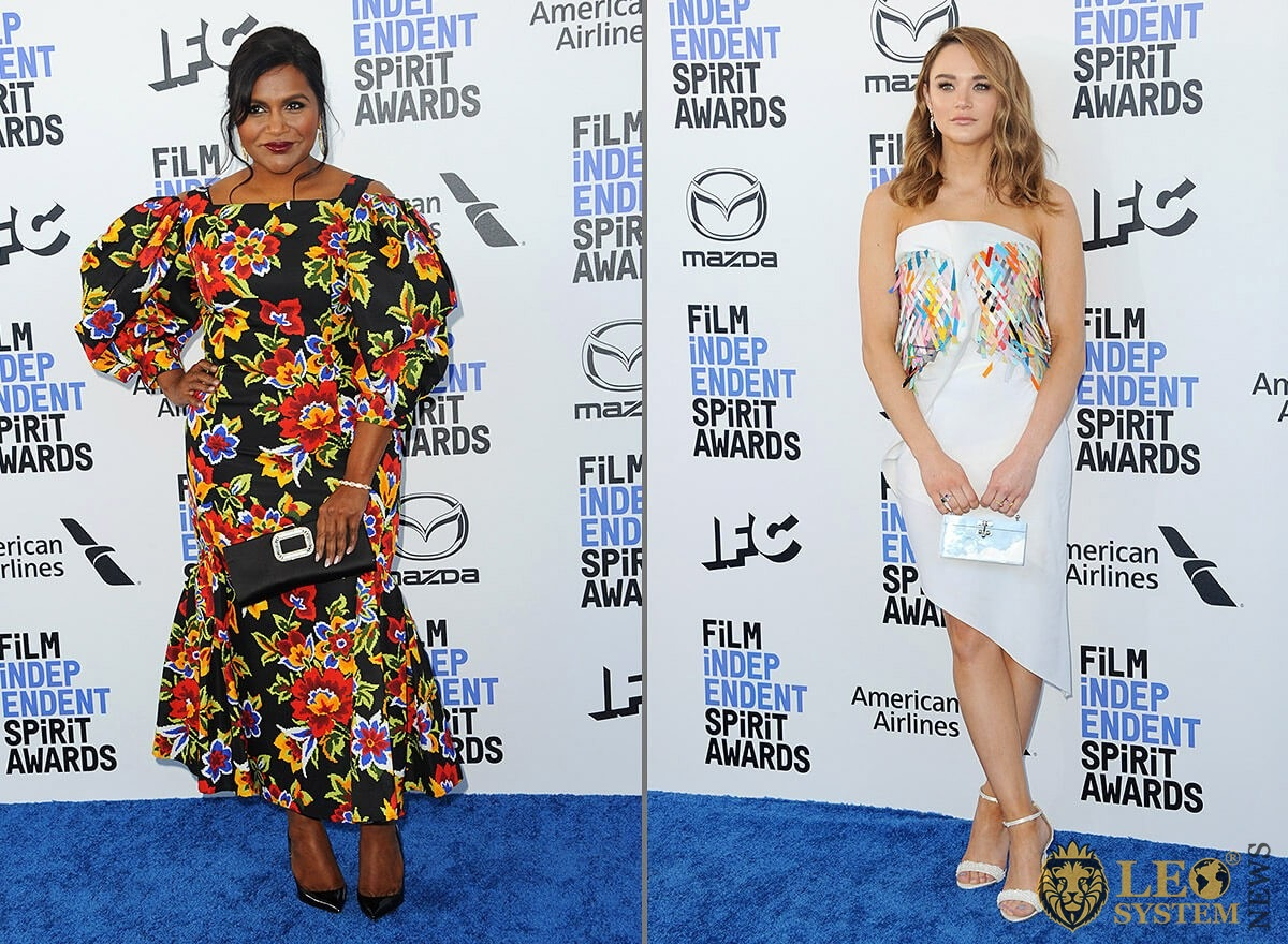 Mindy Kaling and Hunter King at the 35th Annual Film Independent Spirit Awards, Santa Monica, California
