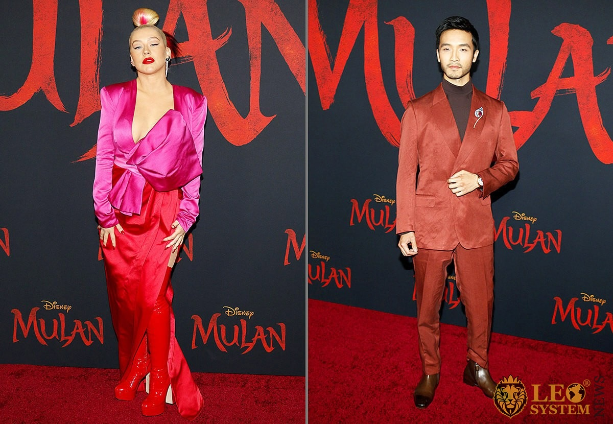Christina Aguilera and Yoson An - World Premiere of Disney's Mulan, Dolby Theatre in Hollywood