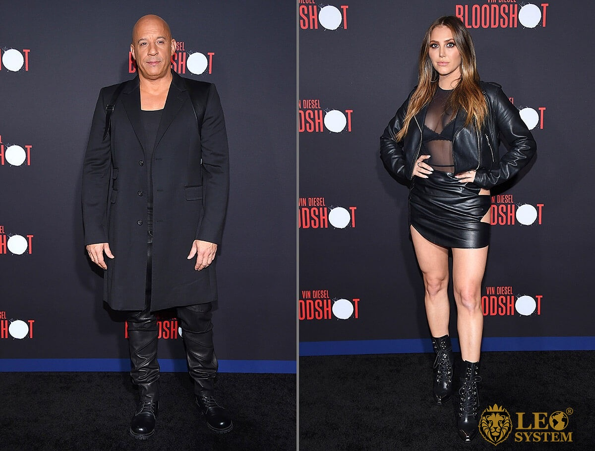 Vin Diesel and Cassie Scerbo at the World Premiere of Bloodshot in Westwood, Los Angeles