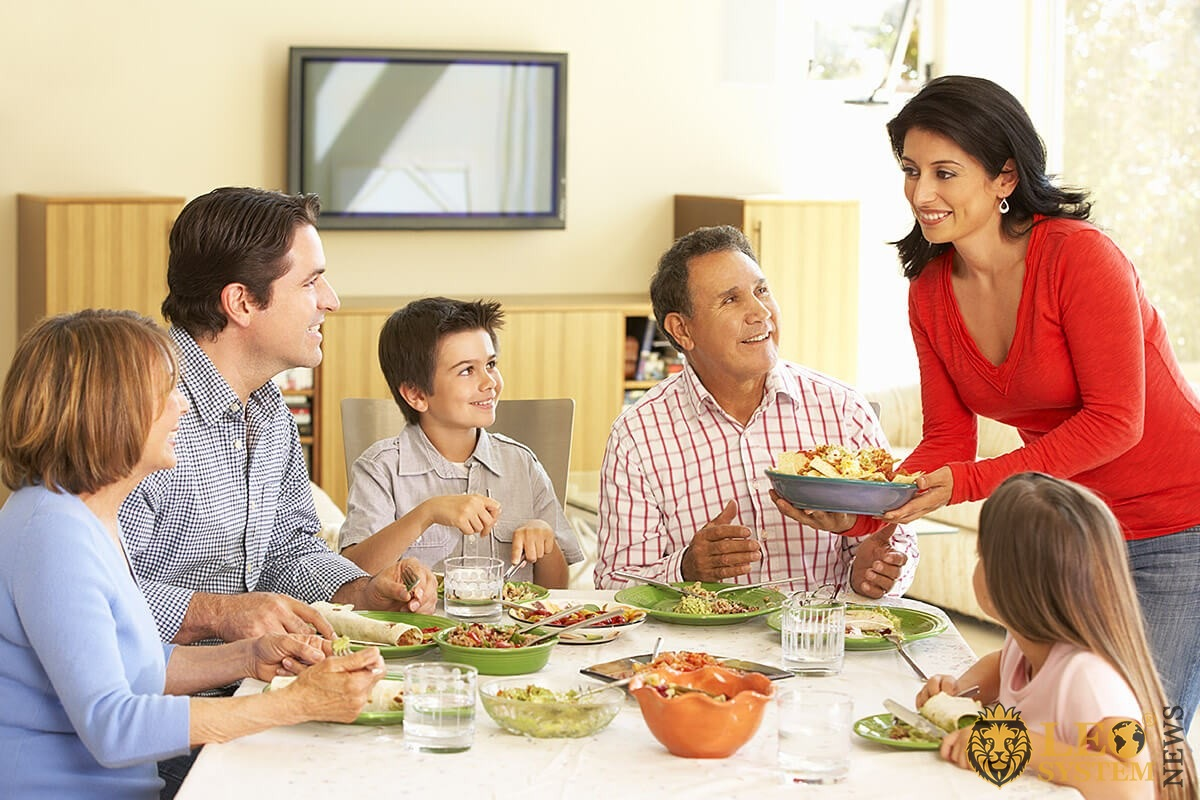 Image of a large family dinner according to tradition