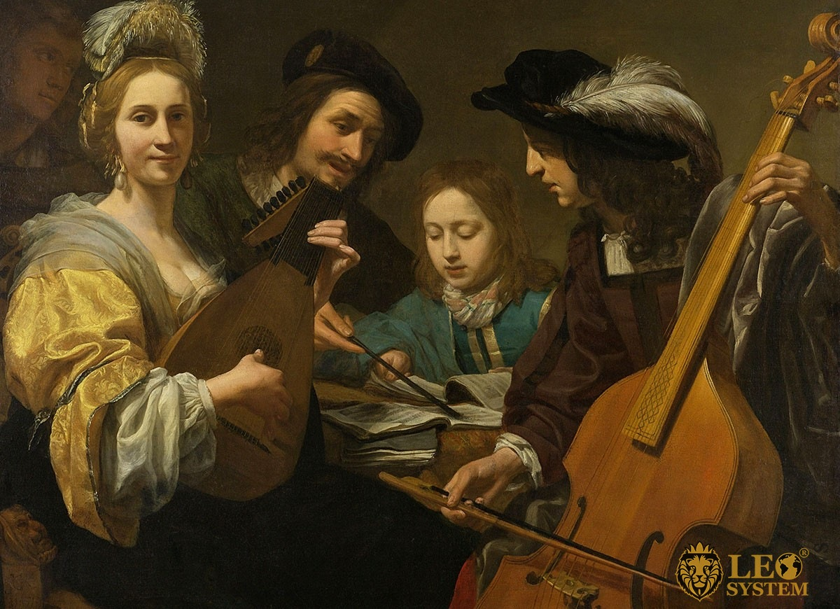 Image of a historical canvas, 1651 year - Young man gets a music lesson