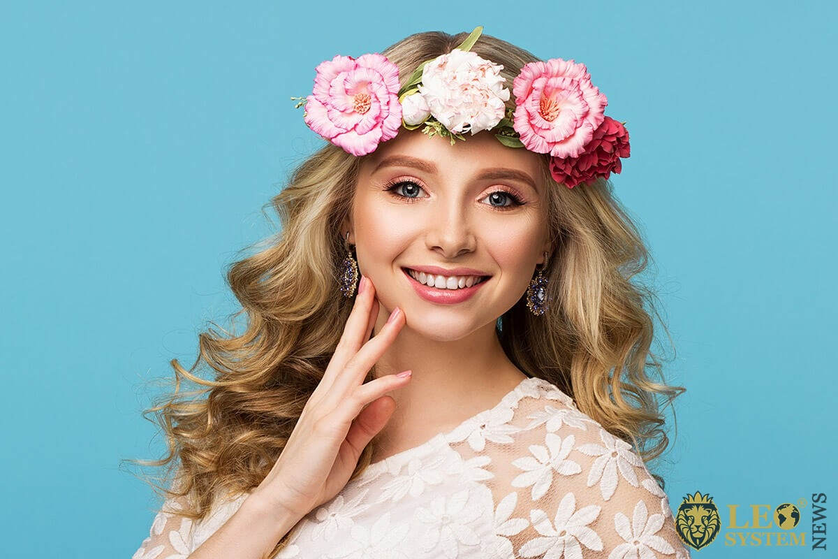 Image of a beautiful girl with flowers in her hair